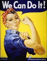This image became a cultural icon of the United states, representing women working in factories during World War II.  Check out the Rosie the Riveter Project at Ney Work University http://dlib.nyu.edu/rosie/about